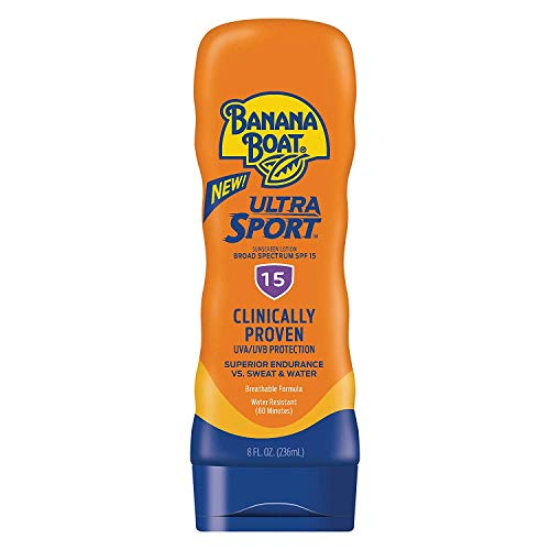 - Banana Boat Ultra Sport Sunscreen Lotion, New Formula, SPF 15, 8 Ounces