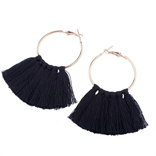Earrings Clearance, Paymenow Women Girls Long Tassel Circle Dangle Earrings Jewelry Date Gift Hoops Earrings (Black) - Topaz Circle Pendant