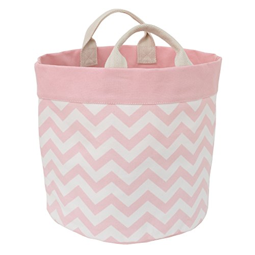 Little Love by NoJo Chevron Reversible Storage Tote with Handles, Pink/White
