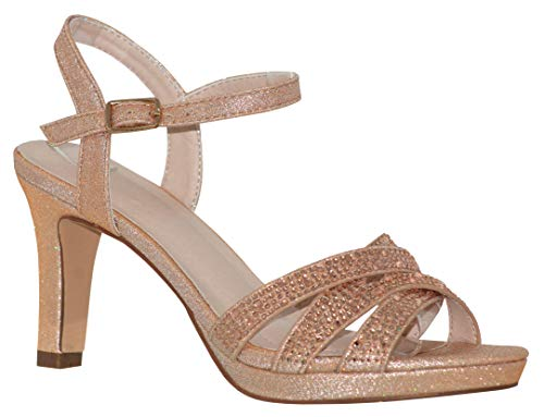 - MVE Shoes Women's Open Toe Low Heel Strappy Adjustable Ankle Strap, NICOLE-28 Rosegold 9