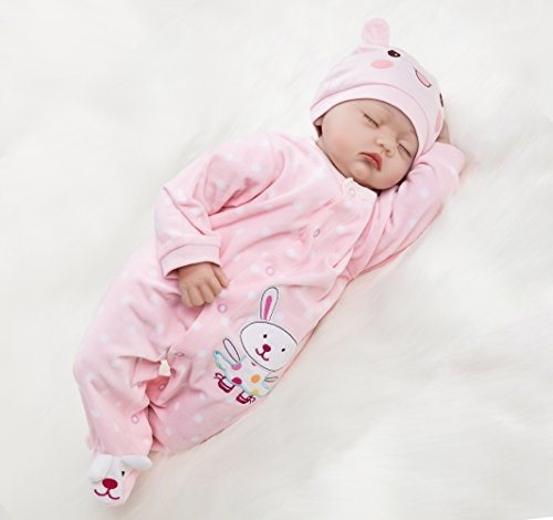 "22"" Reborn Newborn Baby Doll Realistic Lifelike Handmade Weighted Baby for Ages 3+, Soft Silicone Vinyl"