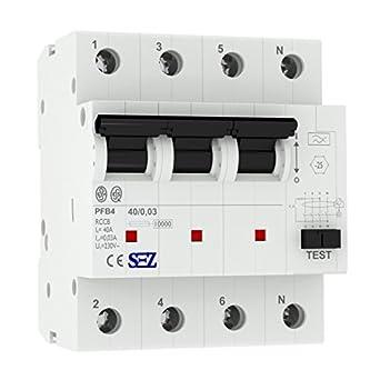 FI-Schutzschalter 4-Polig 40A Typ A 0.3 A Fehlerstrom-Schutzschalter