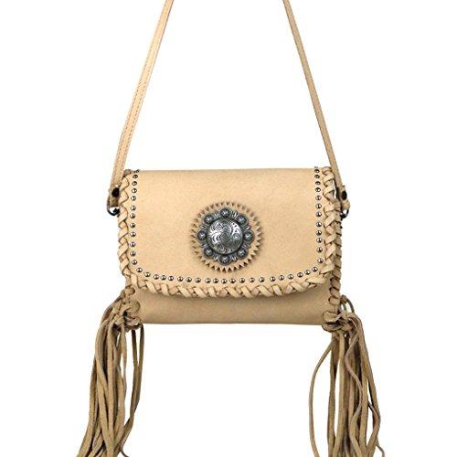 Bundle Fringe Flash 2 w Key Handbag amp; Light Concho Purse of Clutch Leather Fob Tan rRwBnHFqr