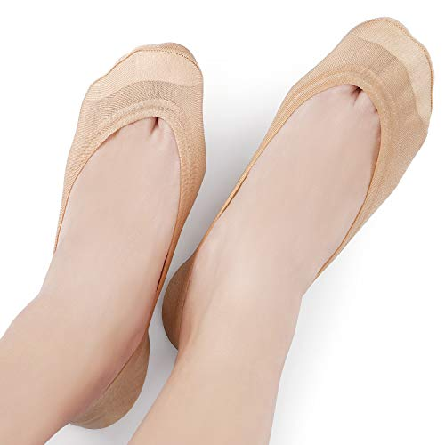 6 Pairs Women\'s No Show Socks Non Slip Cotton Invisible Hidden Thin Liner Socks for Flats Heels (Beige3Black3, Shoe Size 9-12)