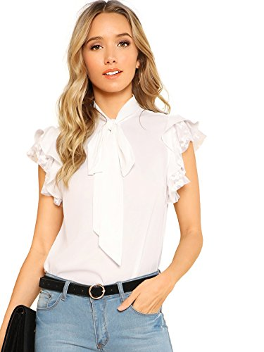 - Verdusa Women's Tie Neck Embroidered Contrast Mesh Ruffle Blouse Top White L