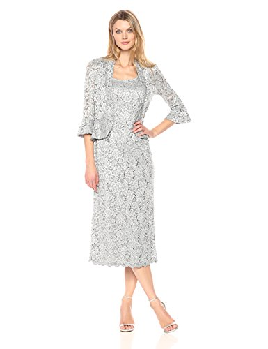 R&M Richards Women's Two Piece Lace Long Jacket Dress Missy, Silver, 12