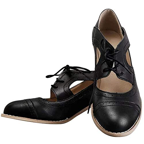 Black Lace Up Pump Heels - Athlefit Women's Cut Out Ankle Boots Breathable Vintage Oxford Block Heel Pumps Size 10.5 Black Leather