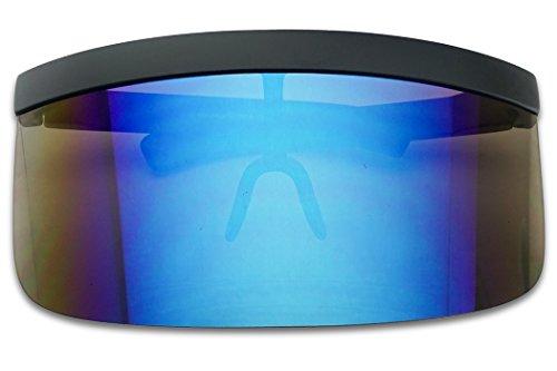 Matte Black Retro Futuristic Single Shield Color Oversized Visor Sunglasses (Matte Black, Blue Mirror) (Visor Plastic)