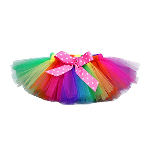 Tutu Dreams Clown Rainbow Skirt for Girls LOL Costume Tutu with Bow Birthday Dance Party (6 for 5-6Y, Rainbow)