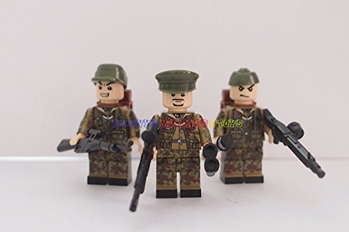 x New WWII German Minifigures Waffen SS Soldier Army Camouflage Custom Brand (Kids Union Officer Hat)