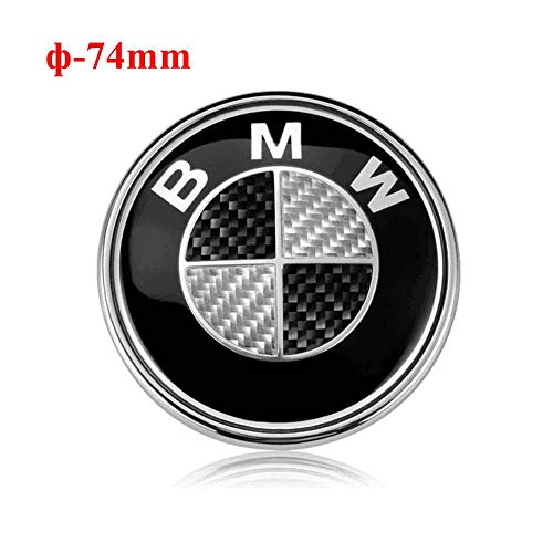 (74mm BMW Trunk Emblem, 2 Pin Carbon Fiber Replacement Badge Hood or Trunk Logo Fit for BMW 2-Series, 3-Series, 4-Series, M-Series, E46 E90 E82 (Black))