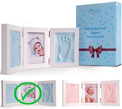 (Baby Handprint & Footprint Photo Frame Kit - Premium Casting No Mold Clay - Box Ready for Boy Girls Baby Shower Gifts - Newborn Keepsake Personalized Picture Frames - Wall/table - Free Stamp Set- Blue)