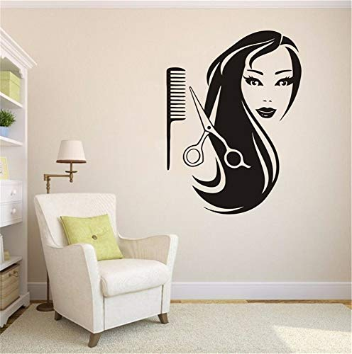 pabear Quotes Art Decals Vinyl Removable Wall Stickers Salon Spa Decoration Sexy Hair Barber Shop Girl Rooms ()