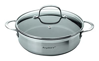 "BergHOFF Bistro Covered 2 Handle Non-Sticky Deep Skillet, 10"", Silver"