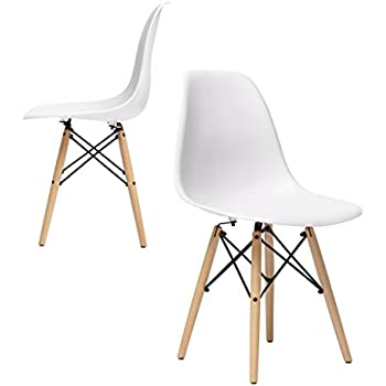 Chelsea Eames DSW Molded Plastic Dining Side Chairs (White   Set Of 2)