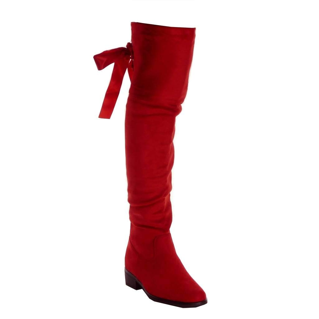Souple Mode Cavalier Angkorly Rouge Femme Cuissarde Chaussure 5642 RBxY77aw