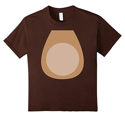 Kids Reindeer Body Belly Children's Christmas Costume T-Shirt 10 Brown