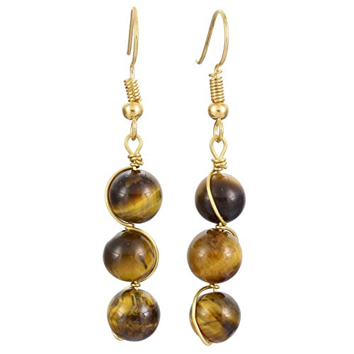SUNYIK Round Stone Bead Tassel Dangle Earrings for Women, Gold Plated, Tiger's Eye Stone ()