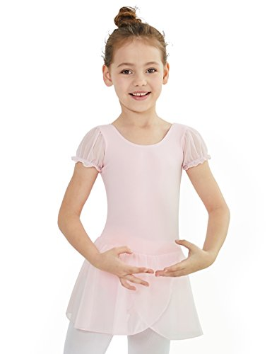MdnMd Dance Leotard for Little Girls with Flutter Sleeve (Ballet Pink, Age 4-6,Height ()
