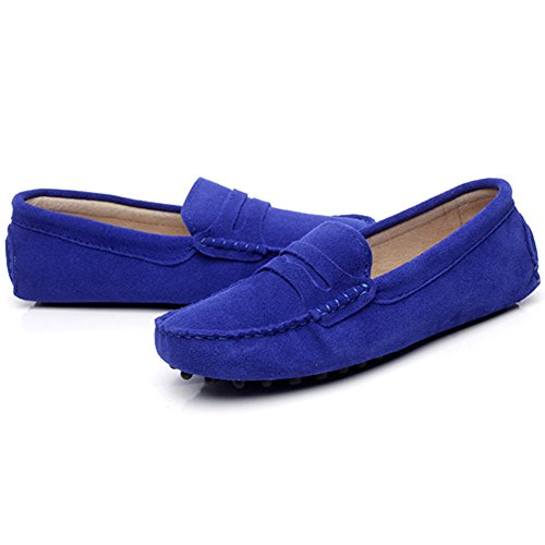 Slippers Suede Blue Soft Shoes Moccasin Classic Driving Royal Women's Loafers rismart Leather OwPzqn