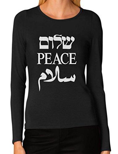 Shalom Peace Salaam Middle East English Hebrew Arabic Women Long Sleeve T-Shirt Large Black