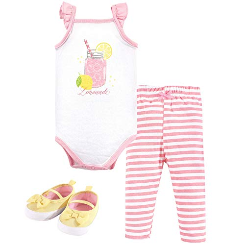 Layette Baby Unisex (Hudson Baby Unisex Baby Bodysuit, Pants/Shorts and Shoes, Lemonade 3-Piece Set, 9-12 Months (12M))