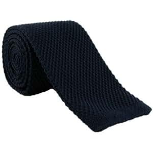Navy flaco Seda corbata de punto de Michelsons of London