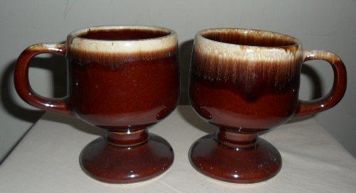 (2) McCoy Brown Drip Ware 7075 Pedestal Coffee Mugs / -