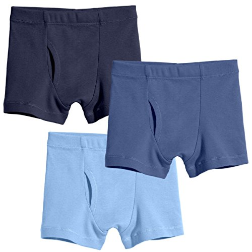 City Threads Little Boys Organic Cotton Boxer Brief Underwear for Sensitive Skin and SPD Sensory Friendly Clothing, Blues, 4