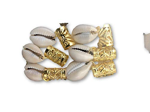(6 Pieces Gold Filigree Cowrie Shell Dreadlock loc Jewelry Hair Ring Aluminum Hair Coil for Dreadlocks Braiding Beads Wig Jewelry Ring Twisted Wire Hollow for Braided Hair Natural Hair Jewelry)