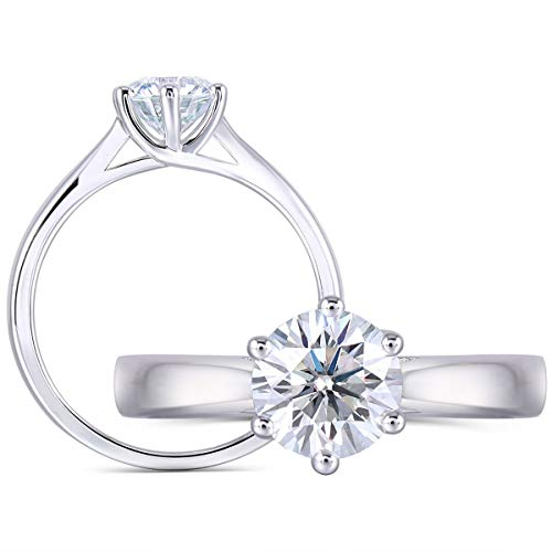 DOVEGGS 1ct 6.5mm Round Cut 2.6mm Band Width Lab Grown Moissanite Engagement Ring Platinum Plated Sterling Silver(6.5)