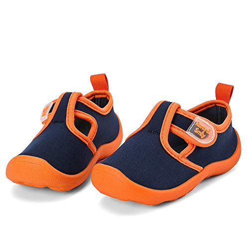 (nerteo Toddler Shoes Sandals Girls Cute Aqua Water Shoes for Beach/Camp/Pool Swim Navy/Orange US 11 Little Kid)