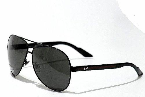 Gucci Men's 1951/S Aviator Sunglasses,Black & Shiny Black Frame/Grey Lens,One - Safilo Sunglasses Gucci