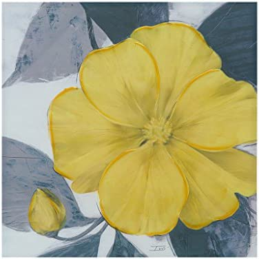Madison Park 30 X 30 inch, Transitional D cor Yellow Bloom Hand Embellished Floral Canvas Wall Art