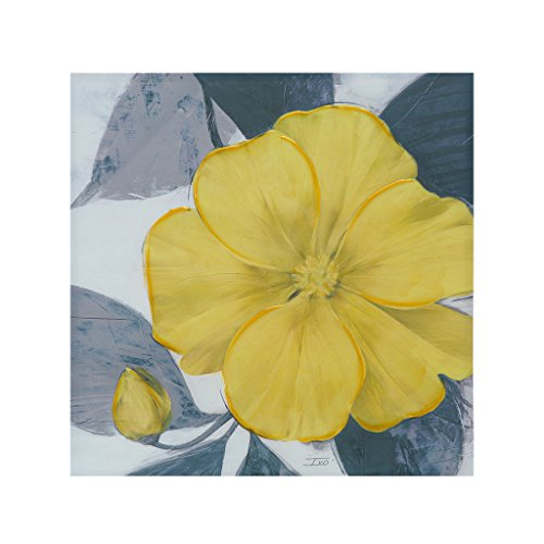 Madison Park Yellow Bloom Hand Embellished Floral Canvas Wall Art 30X30, Transitional Wall Décor