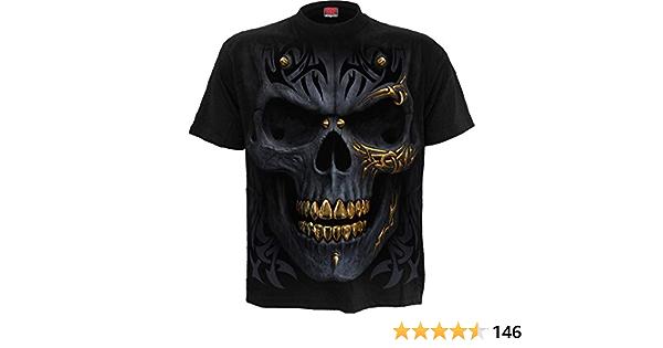 NEW SPIRAL DIRECT BLACK GOLD T-Shirt//Tribal//Skull//Gold//Game//Top