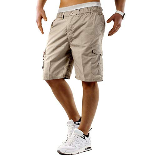 Allywit Mens Premium Cargo Shorts with Belt Outdoor Twill Cotton Loose Fit Multi Pocket Pants Plus Size Khaki ()