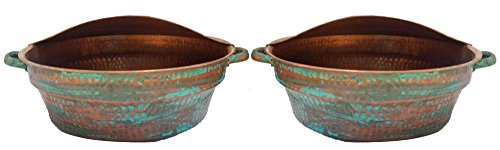 Egypt gift shops Pair 21'' Large Fire Burnt Verde Massage Wash Handles Pedicure Wellness Spa Styling Salon Bowls 14'' Bottom + 2 Foot Rests by Egypt Gift Shops