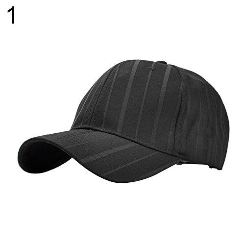 Mosichi Men Women Stripe Baseball Cap Golf Snapback Casual Adjustable Sports Hat (Black) ()