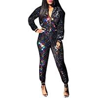 Chicmay Women Sparkly Sequins 2 Piece Outfits Long Sleeve Jacket + Bodycon Long Pants Jumpsuit Set Romper Clubwear