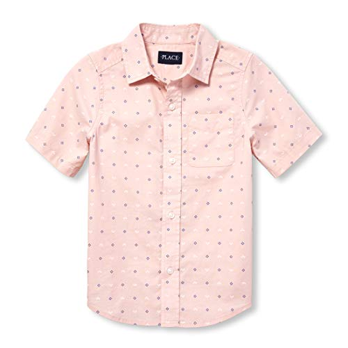 The Children's Place Boys' Big Short Sleeve Printed Oxford, Rose dust, M (7/8) ()