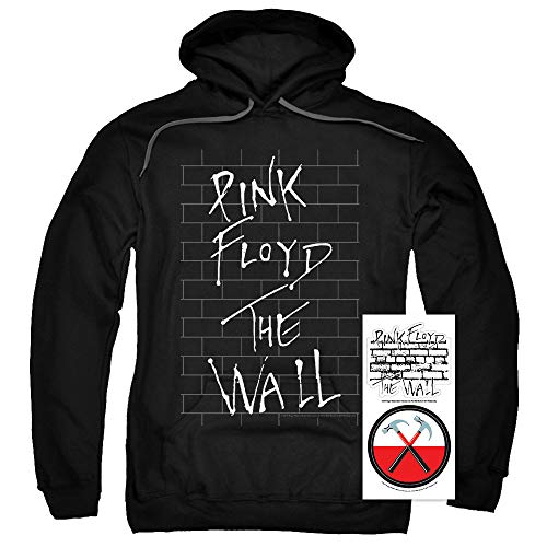 Pink Floyd Rock Band - Pink Floyd The Wall Album Rock Band Black Pullover Hoodie Sweatshirt & Stickers (Small)