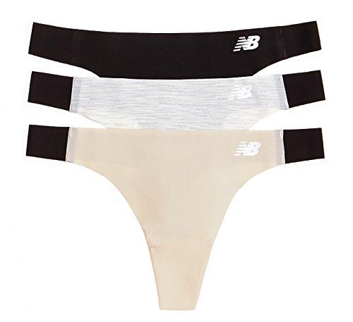 New Balance Women's Laser Thong Panties , Black/Concrete Grey Space Dye/Nude, Medium