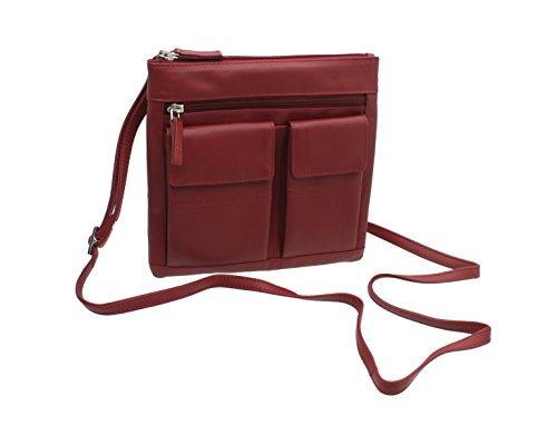 estilo Rojo cuero Brown bolso Visconti de del 18608A qC6xpHIw4