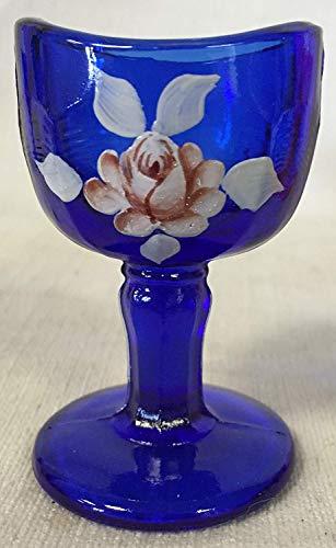 Eye Wash Bath Cup Rinse - American Made - Mosser Glass USA - Hand Painted Ernie Brown (Cobalt Blue w/Pink Rose)