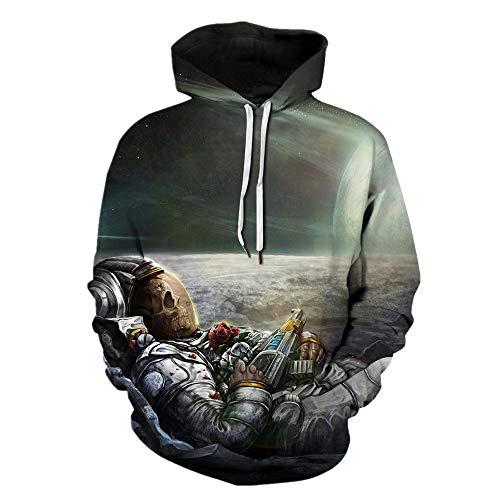 Mclochy 3D Print Astronaut Rose Gun Halloween Unisex Hoodies Sweatshirts (Asia XXL/3XL = US XL, Astronaut Skull)