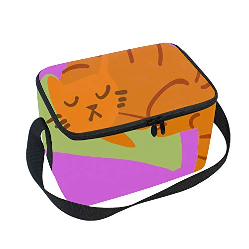 Insulated Lunch Bag Cartoon Sleeping Awesome Cat Mascot Lunch Box for Office Work Men Women Teens