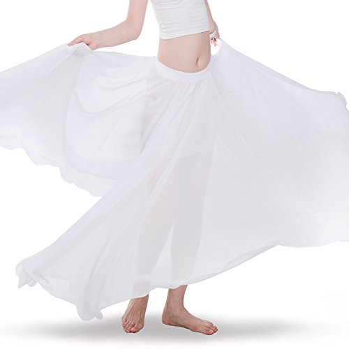 ROYAL SMEELA Women's Belly Dance Skirt ATS Voile Maxi Full Tribal Bellydance Chiffon Skirt, White, One Size