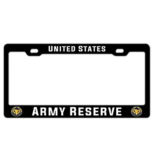 Crysss Universal License Plate Frame Black, Metal Black License Plate Frame for Standard Size US Car - US Army Reserve United States
