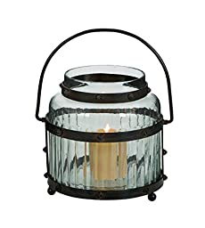 Benzara Glass Lantern with Metal Handle and the Frame Sport